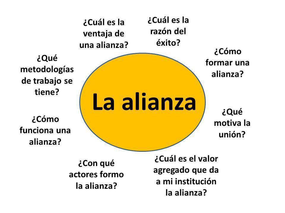 La alianza ¿Cómo formar una alianza? ¿Qué motiva la unión? ¿Cuál es el valor agregado que da a mi institución la alianza? ¿Con qué actores formo la al