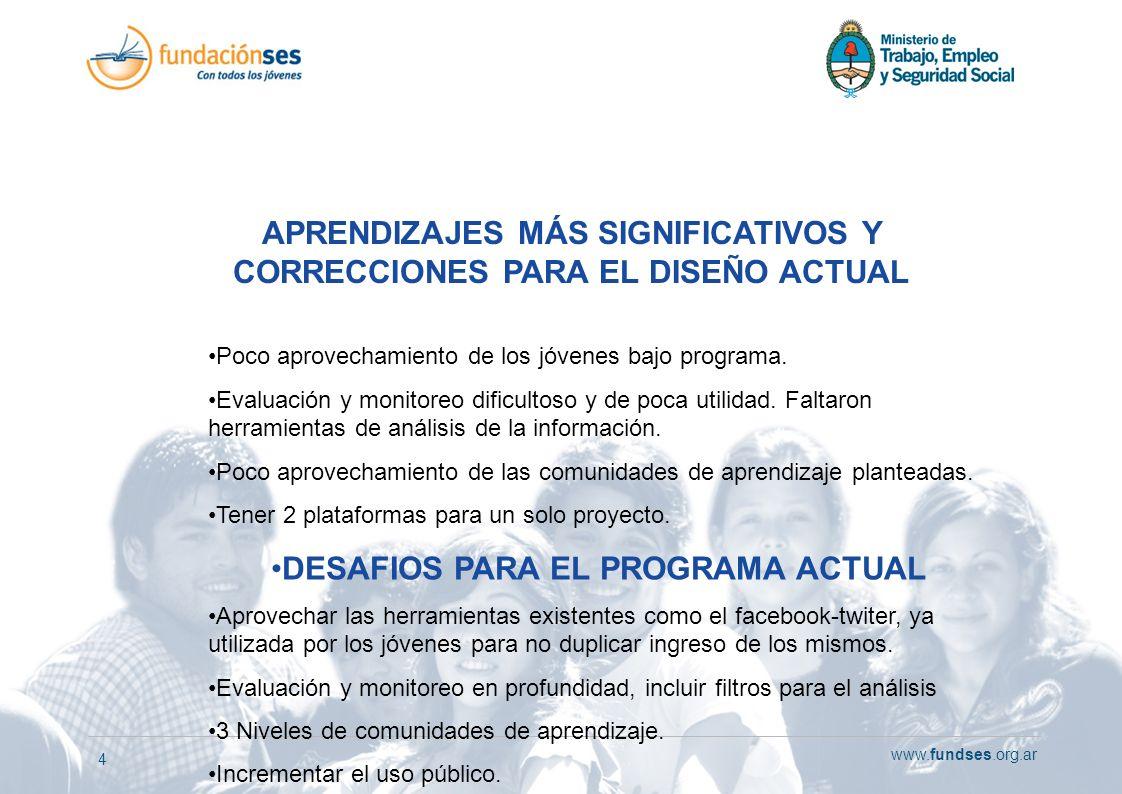 www.fundses.org.ar 4 APRENDIZAJES MÁS SIGNIFICATIVOS Y CORRECCIONES PARA EL DISEÑO ACTUAL Poco aprovechamiento de los jóvenes bajo programa. Evaluació