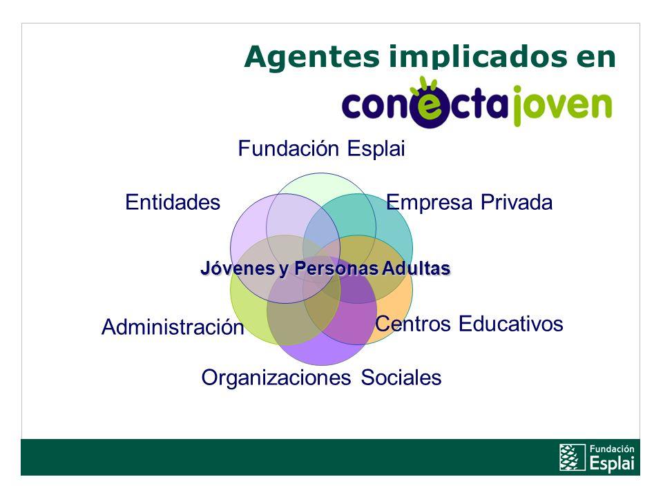 Agentes implicados en Fundación Esplai Empresa Privada Centros Educativos Organizaciones Sociales Administración Entidades Jóvenes y Personas Adultas