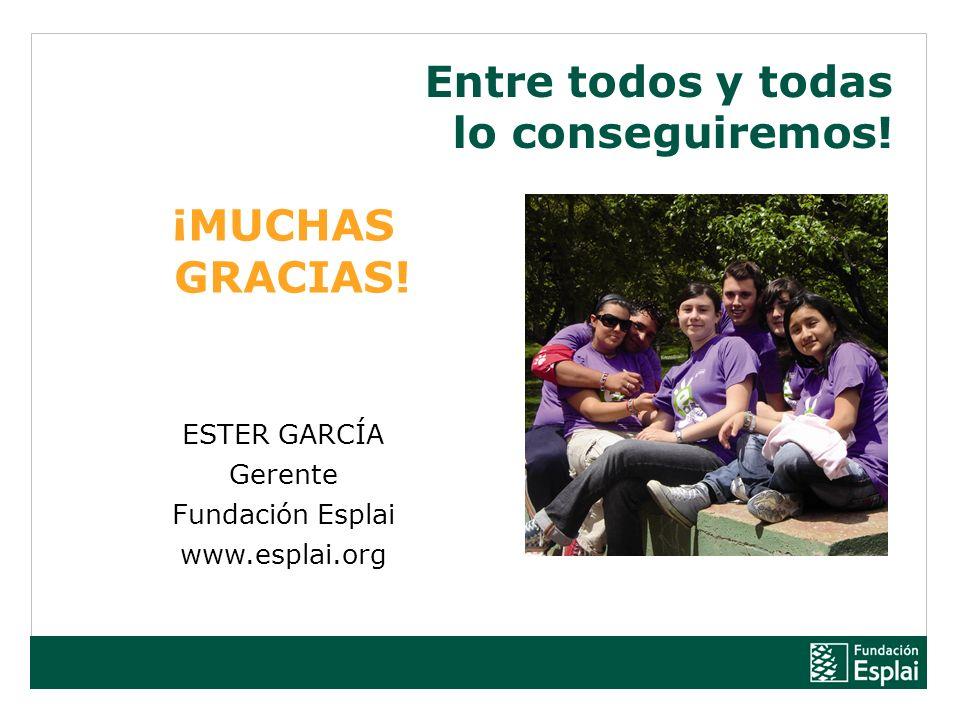 Entre todos y todas lo conseguiremos! ¡MUCHAS GRACIAS! ESTER GARCÍA Gerente Fundación Esplai www.esplai.org