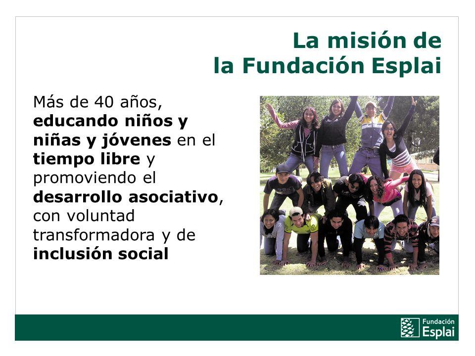 Más de 40 años, educando niños y niñas y jóvenes en el tiempo libre y promoviendo el desarrollo asociativo, con voluntad transformadora y de inclusión social La misión de la Fundación Esplai