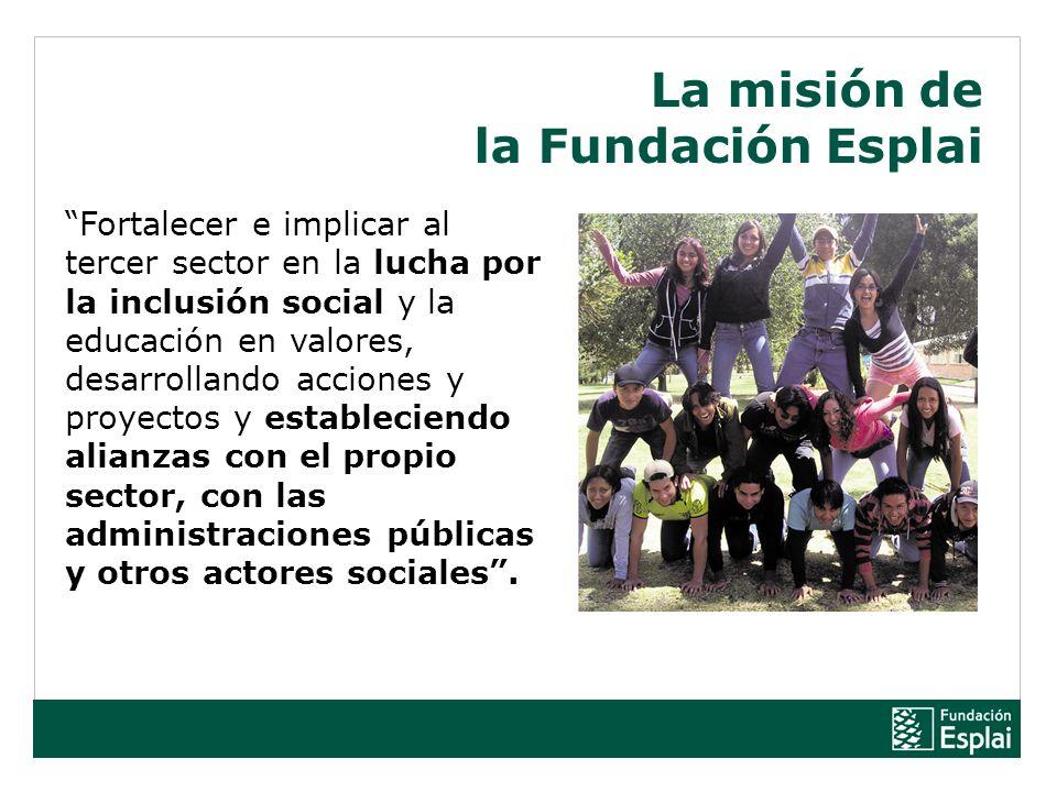 Fortalecer e implicar al tercer sector en la lucha por la inclusión social y la educación en valores, desarrollando acciones y proyectos y estableciendo alianzas con el propio sector, con las administraciones públicas y otros actores sociales.