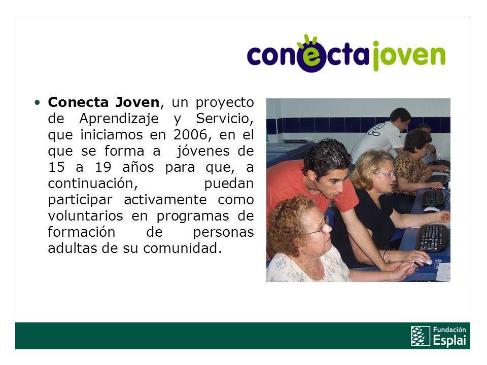 Conecta Joven, un proyecto de Aprendizaje y Servicio, que iniciamos en 2006, en el que se forma a jóvenes de 15 a 19 años para que, a continuación, puedan participar activamente como voluntarios en programas de formación de personas adultas de su comunidad.