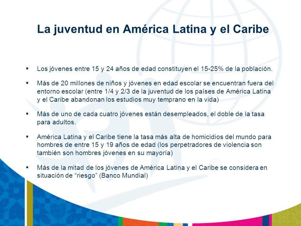 La juventud en América Latina y el Caribe Los jóvenes entre 15 y 24 años de edad constituyen el 15-25% de la población.