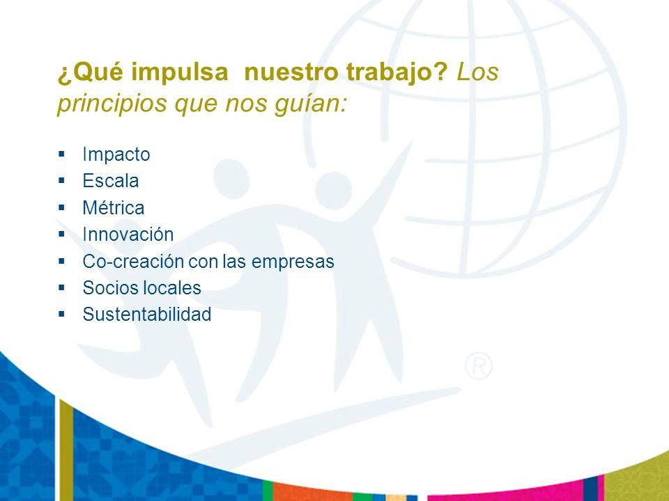 Meta: Mejorar la empleabilidad de los jóvenes otorgándoles acceso a las herramientas y al conocimiento necesario para que puedan encontrar trabajos productivos y triunfen en los mismos Enfoque: Entrenamiento en herramientas para la vida, tecnología de la información, herramientas vocacionales para conocer las necesidades de los sectores privados de cada región 18 Países: Latinoamérica y el Caribe Beneficiarios: 70.000 desempleados o subempleados jóvenes de entre 16 y 29 años Alianzas: Banco Interamericano de Desarrollo, USAID, Finnish Aid, Banco Mundial, IDRC(Canada), Caterpillar, Microsoft, Merrill Lynch, Nokia, & numerosas organizaciones locales públicas y privadas Socios públicos y privados
