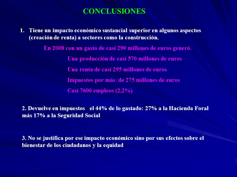 CONCLUSIONES 1.Tiene un impacto económico sustancial superior en algunos aspectos (creación de renta) a sectores como la construcción. En 2008 con un