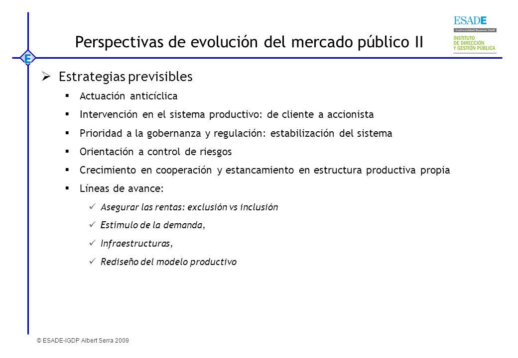 © ESADE-IGDP Albert Serra 2009 Estrategias previsibles Actuación anticíclica Intervención en el sistema productivo: de cliente a accionista Prioridad