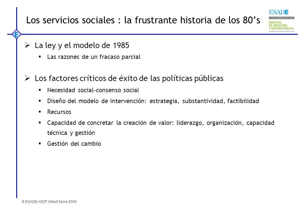 © ESADE-IGDP Albert Serra 2009 Los servicios sociales : la frustrante historia de los 80s La ley y el modelo de 1985 Las razones de un fracaso parcial