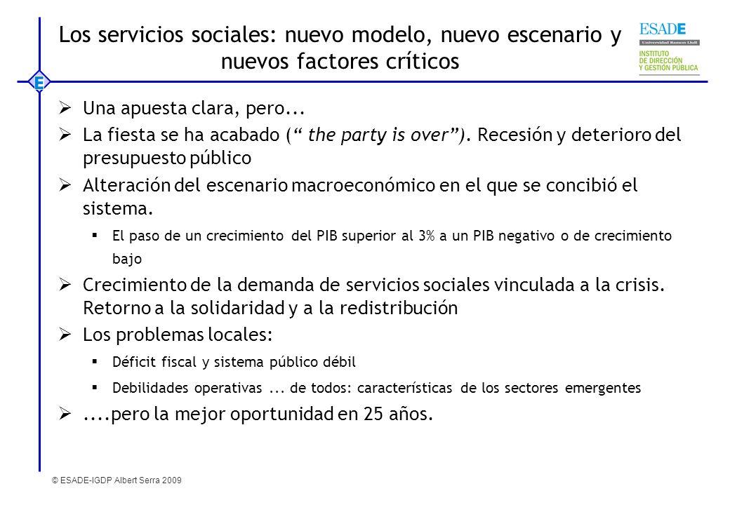 © ESADE-IGDP Albert Serra 2009 Los servicios sociales: nuevo modelo, nuevo escenario y nuevos factores críticos Una apuesta clara, pero... La fiesta s