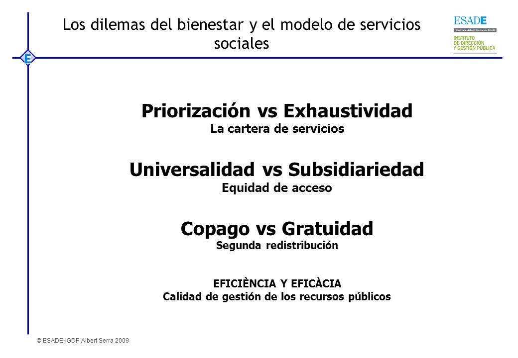 © ESADE-IGDP Albert Serra 2009 Los dilemas del bienestar y el modelo de servicios sociales Priorización vs Exhaustividad La cartera de servicios Unive