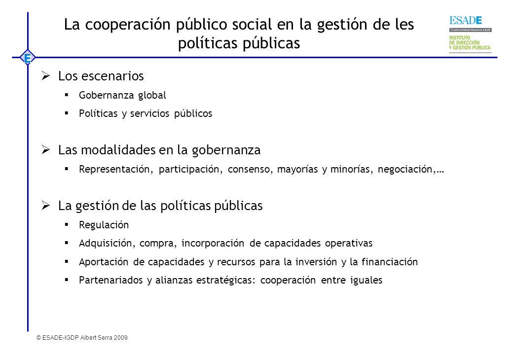 © ESADE-IGDP Albert Serra 2009 La cooperación público social en la gestión de les políticas públicas Los escenarios Gobernanza global Políticas y serv