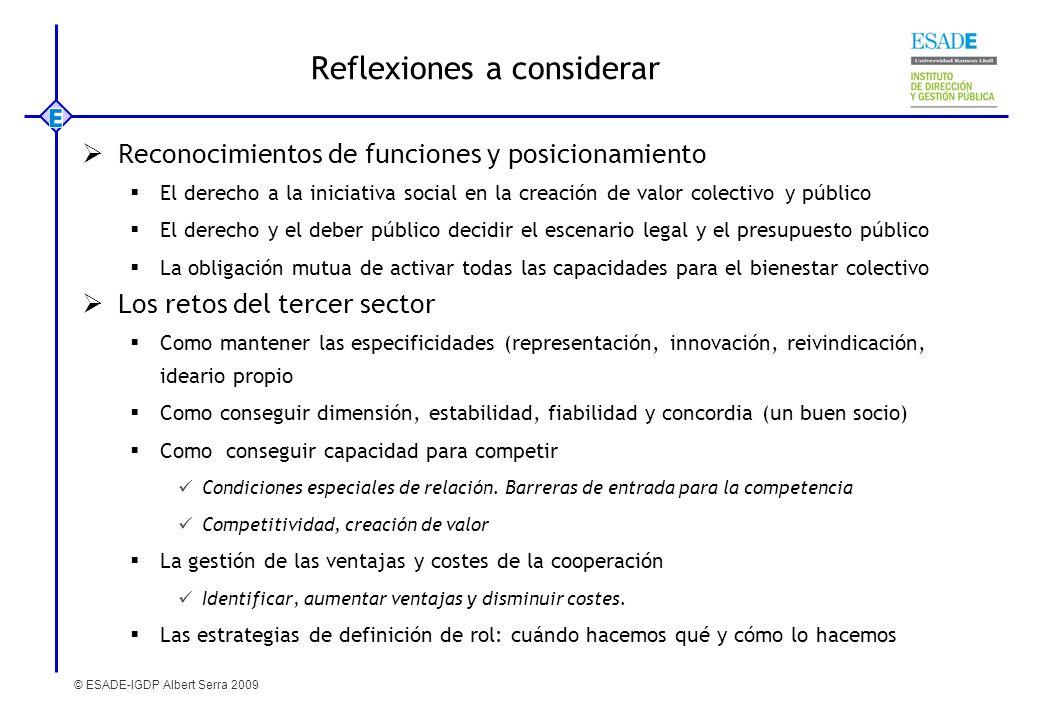 © ESADE-IGDP Albert Serra 2009 Reflexiones a considerar Reconocimientos de funciones y posicionamiento El derecho a la iniciativa social en la creació