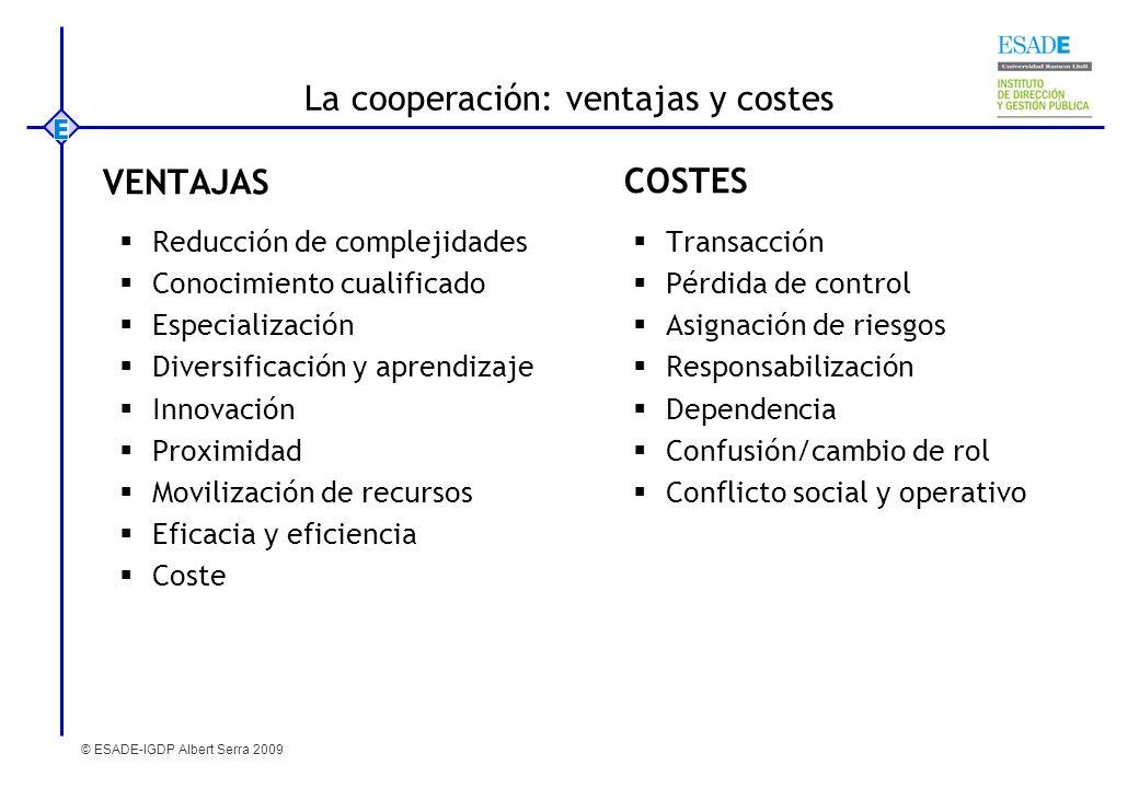 © ESADE-IGDP Albert Serra 2009 La cooperación: ventajas y costes VENTAJAS Reducción de complejidades Conocimiento cualificado Especialización Diversif