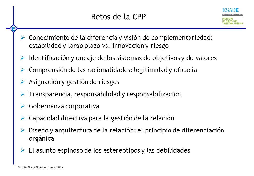 © ESADE-IGDP Albert Serra 2009 Retos de la CPP Conocimiento de la diferencia y visión de complementariedad: estabilidad y largo plazo vs. innovación y