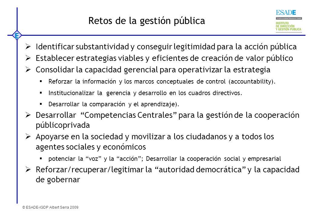 © ESADE-IGDP Albert Serra 2009 Retos de la gestión pública Identificar substantividad y conseguir legitimidad para la acción pública Establecer estrat