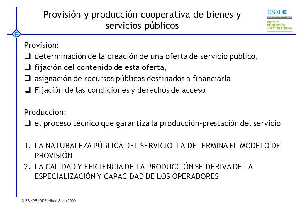 © ESADE-IGDP Albert Serra 2009 Provisión y producción cooperativa de bienes y servicios públicos Provisión: determinación de la creación de una oferta