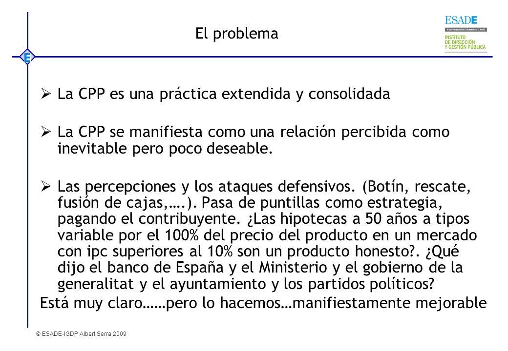 © ESADE-IGDP Albert Serra 2009 El problema La CPP es una práctica extendida y consolidada La CPP se manifiesta como una relación percibida como inevit