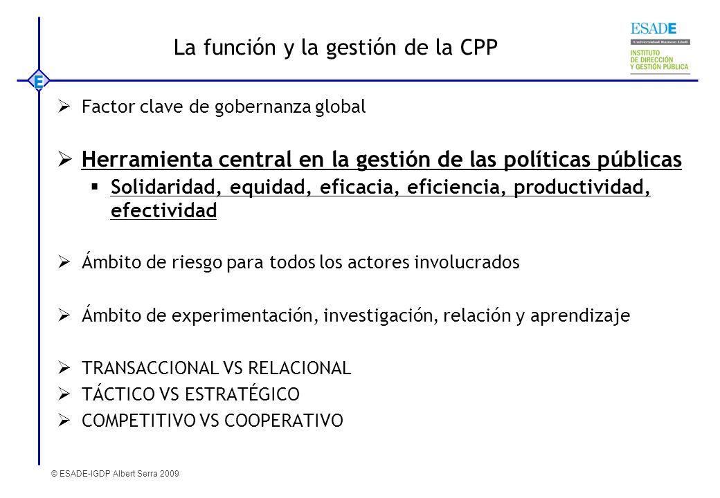 © ESADE-IGDP Albert Serra 2009 La función y la gestión de la CPP Factor clave de gobernanza global Herramienta central en la gestión de las políticas