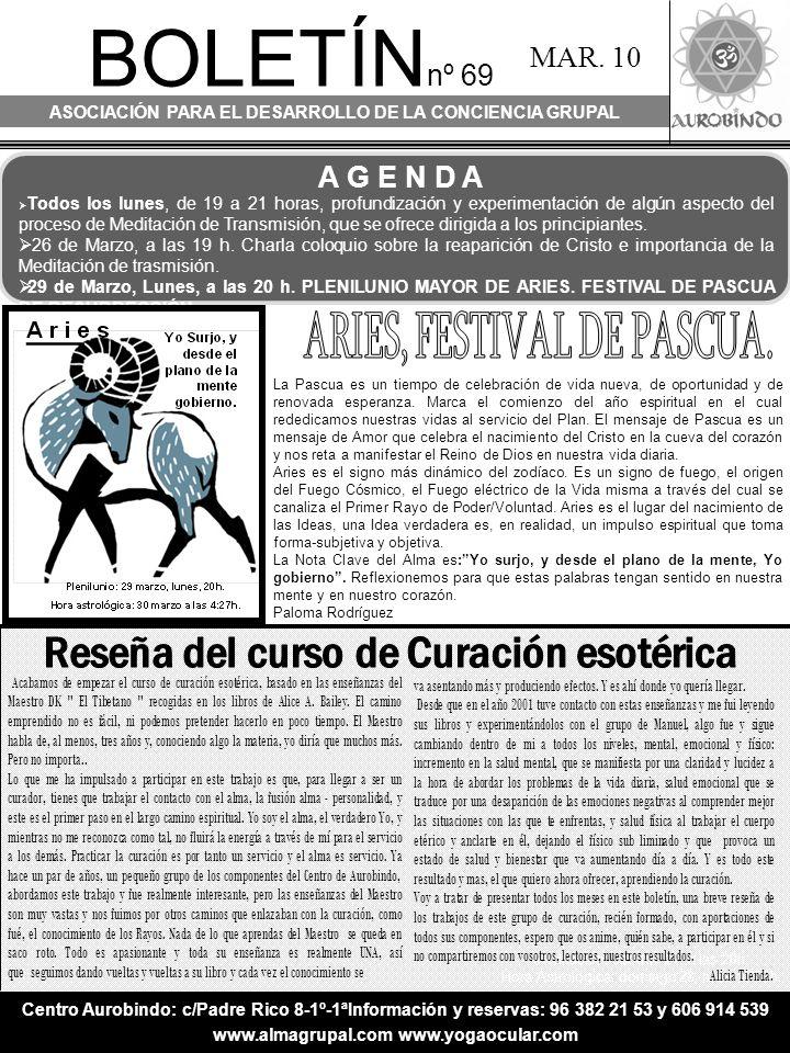 BOLETÍN nº 69 ASOCIACIÓN PARA EL DESARROLLO DE LA CONCIENCIA GRUPAL MAR.