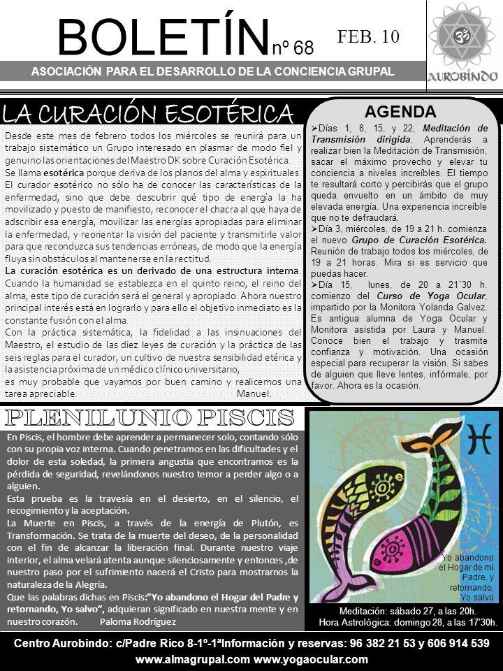 BOLETÍN nº 68 ASOCIACIÓN PARA EL DESARROLLO DE LA CONCIENCIA GRUPAL FEB.