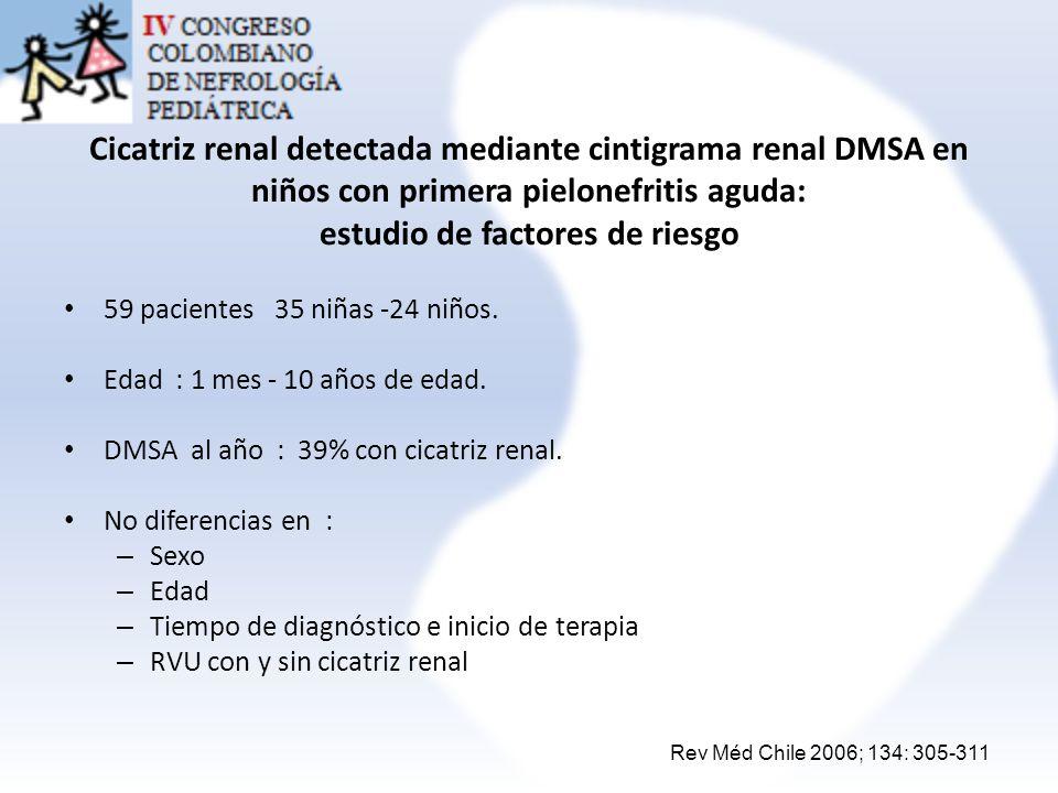 Cicatriz renal detectada mediante cintigrama renal DMSA en niños con primera pielonefritis aguda: estudio de factores de riesgo 59 pacientes 35 niñas
