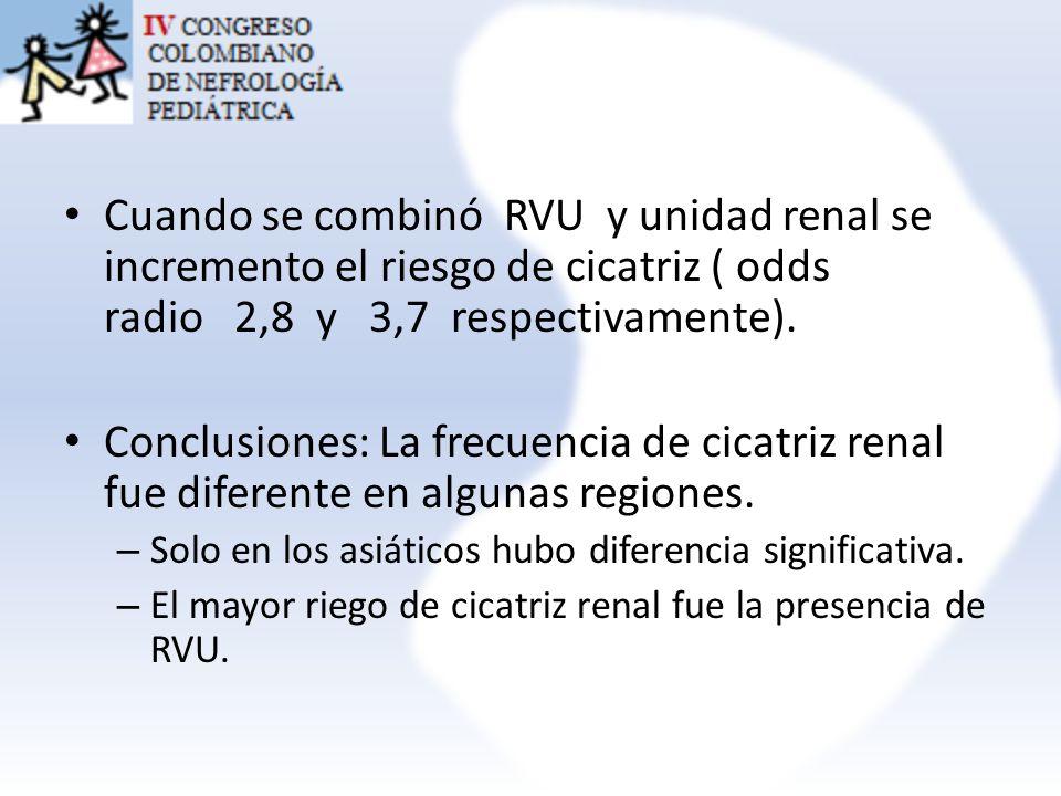 Cuando se combinó RVU y unidad renal se incremento el riesgo de cicatriz ( odds radio 2,8 y 3,7 respectivamente). Conclusiones: La frecuencia de cicat