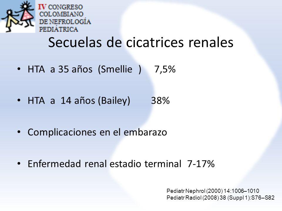 Secuelas de cicatrices renales HTA a 35 años (Smellie ) 7,5% HTA a 14 años (Bailey) 38% Complicaciones en el embarazo Enfermedad renal estadio termina