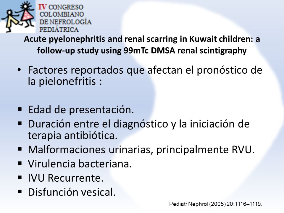 Acute pyelonephritis and renal scarring in Kuwait children: a follow-up study using 99mTc DMSA renal scintigraphy Factores reportados que afectan el p