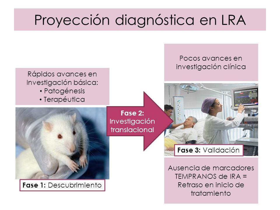 Proyección diagnóstica en LRA Rápidos avances en Investigación básica: Patogénesis Terapéutica Pocos avances en investigación clínica Fase 2: Investig