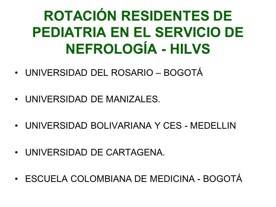 ROTACIÓN RESIDENTES DE PEDIATRIA EN EL SERVICIO DE NEFROLOGÍA - HILVS UNIVERSIDAD DEL ROSARIO – BOGOTÁ UNIVERSIDAD DE MANIZALES. UNIVERSIDAD BOLIVARIA