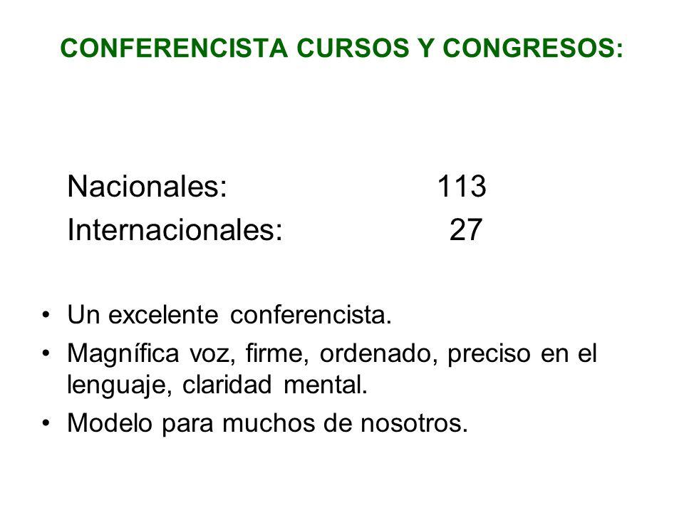 CONFERENCISTA CURSOS Y CONGRESOS: Nacionales: 113 Internacionales: 27 Un excelente conferencista. Magnífica voz, firme, ordenado, preciso en el lengua