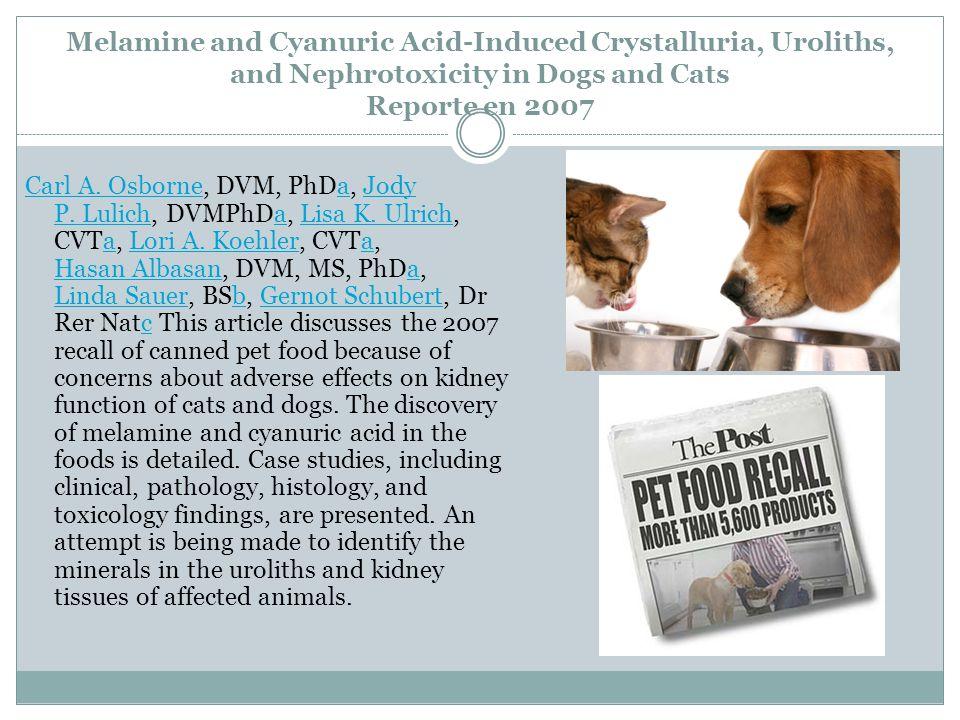 Melamine and Cyanuric Acid-Induced Crystalluria, Uroliths, and Nephrotoxicity in Dogs and Cats Reporte en 2007 Carl A. OsborneCarl A. Osborne, DVM, Ph