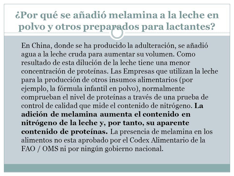 ¿Por qué se añadió melamina a la leche en polvo y otros preparados para lactantes? En China, donde se ha producido la adulteración, se añadió agua a l