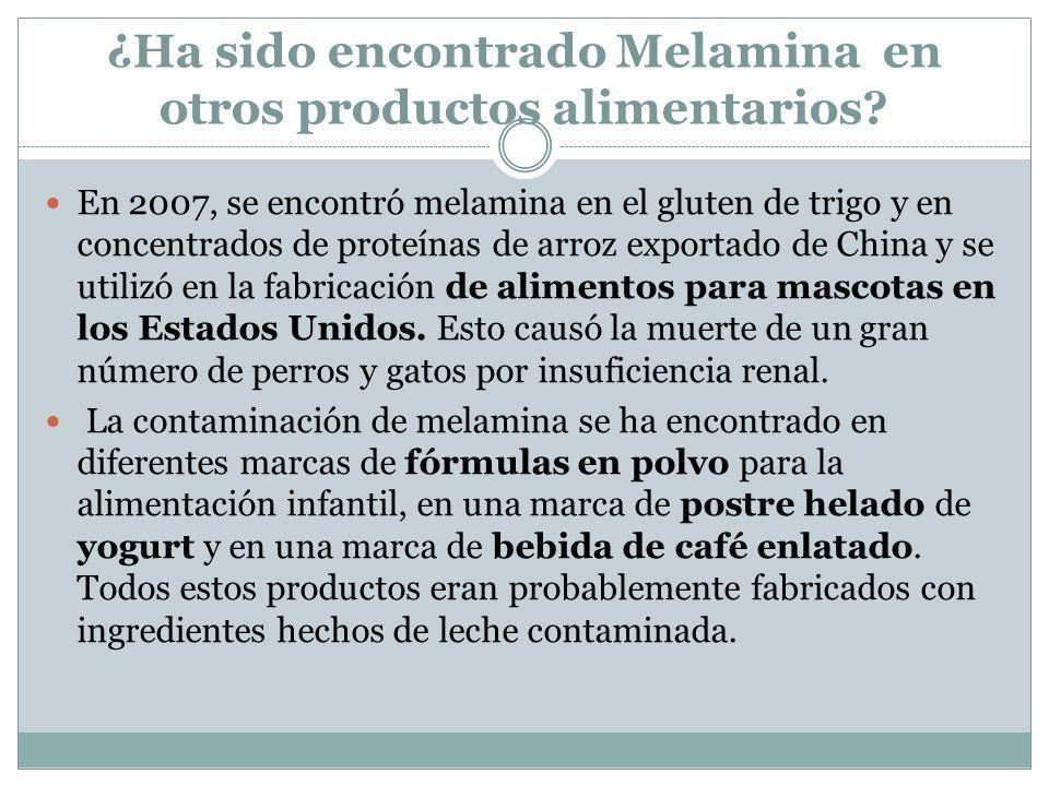 ¿Ha sido encontrado Melamina en otros productos alimentarios? En 2007, se encontró melamina en el gluten de trigo y en concentrados de proteínas de ar