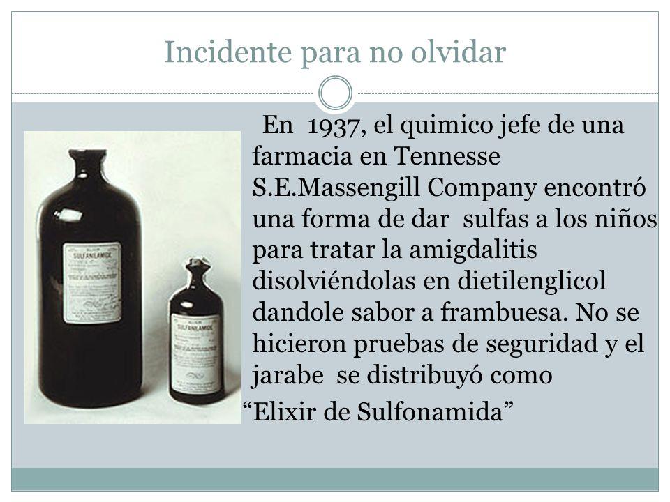 Incidente para no olvidar En 1937, el quimico jefe de una farmacia en Tennesse S.E.Massengill Company encontró una forma de dar sulfas a los niños par