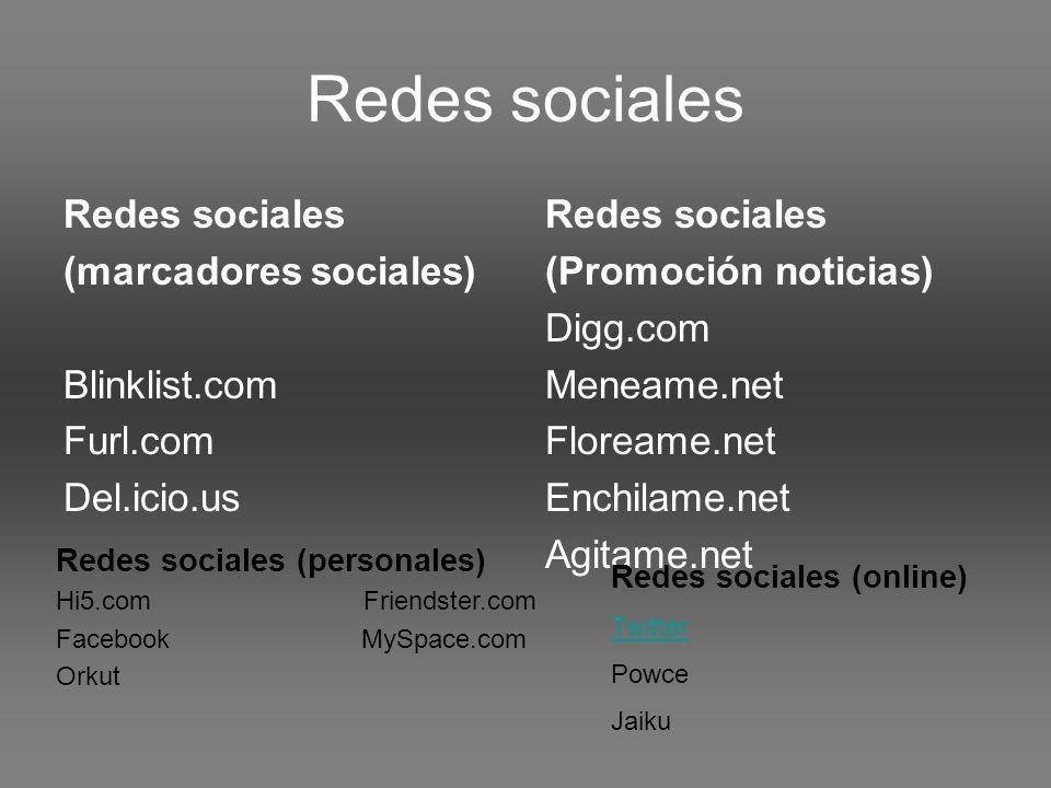 Redes sociales (marcadores sociales) Blinklist.com Furl.com Del.icio.us Redes sociales (Promoción noticias) Digg.com Meneame.net Floreame.net Enchilame.net Agitame.net Redes sociales (personales) Hi5.com Friendster.com Facebook MySpace.com Orkut Redes sociales (online) Twitter Powce Jaiku