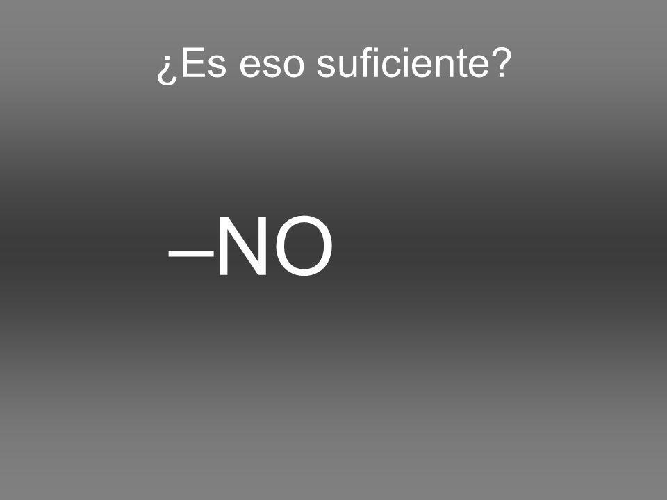 ¿Es eso suficiente –NO