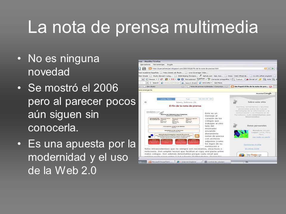 La nota de prensa multimedia No es ninguna novedad Se mostró el 2006 pero al parecer pocos aún siguen sin conocerla.