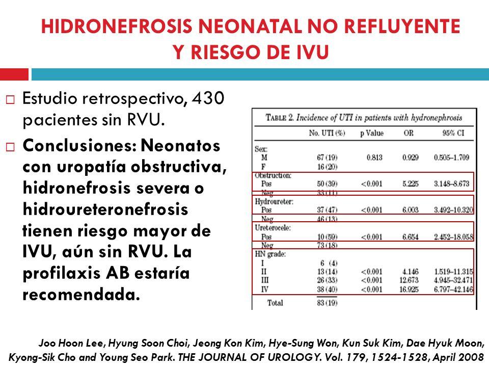 HIDRONEFROSIS NEONATAL NO REFLUYENTE Y RIESGO DE IVU Estudio retrospectivo, 430 pacientes sin RVU. Conclusiones: Neonatos con uropatía obstructiva, hi