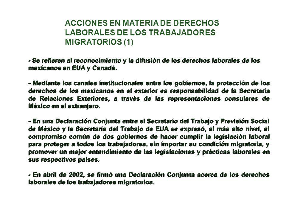 - Se refieren al reconocimiento y la difusión de los derechos laborales de los mexicanos en EUA y Canadá. - Mediante los canales institucionales entre
