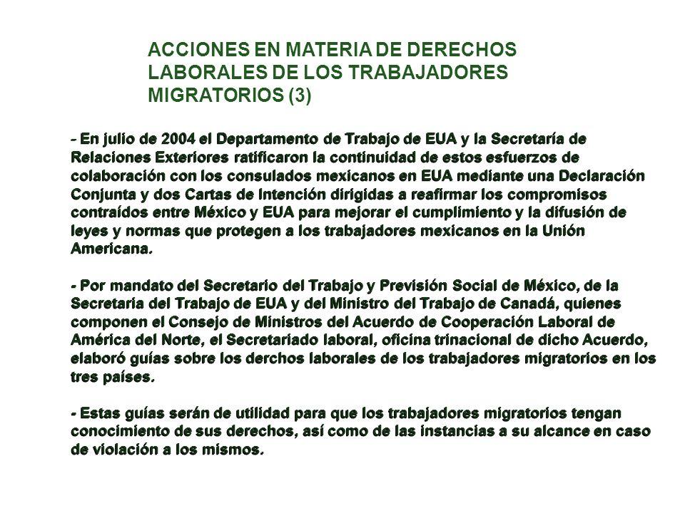 - En julio de 2004 el Departamento de Trabajo de EUA y la Secretaría de Relaciones Exteriores ratificaron la continuidad de estos esfuerzos de colabor