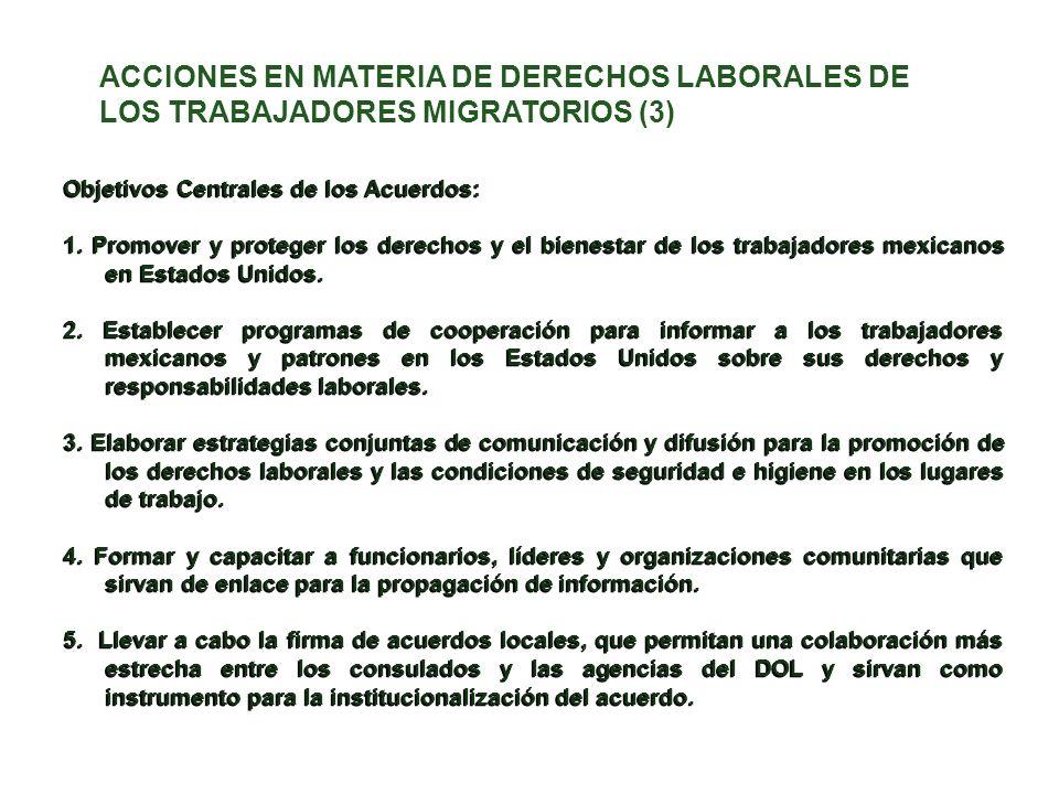 Objetivos Centrales de los Acuerdos: 1. Promover y proteger los derechos y el bienestar de los trabajadores mexicanos en Estados Unidos. 2. Establecer