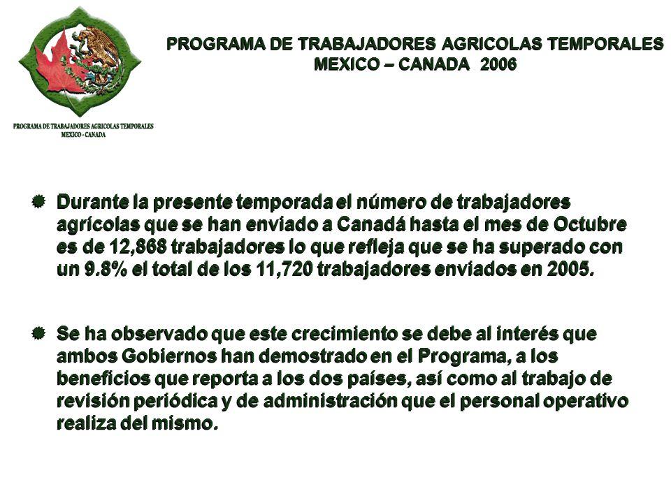 PROGRAMA DE TRABAJADORES AGRICOLAS TEMPORALES MEXICO – CANADA 2006 PROGRAMA DE TRABAJADORES AGRICOLAS TEMPORALES MEXICO – CANADA 2006 En el periodo comprendido entre el año 2001 a la fecha, han sido enviados 67,101 trabajadores, mostrando una constante tendencia ascendente en el crecimiento del Programa.