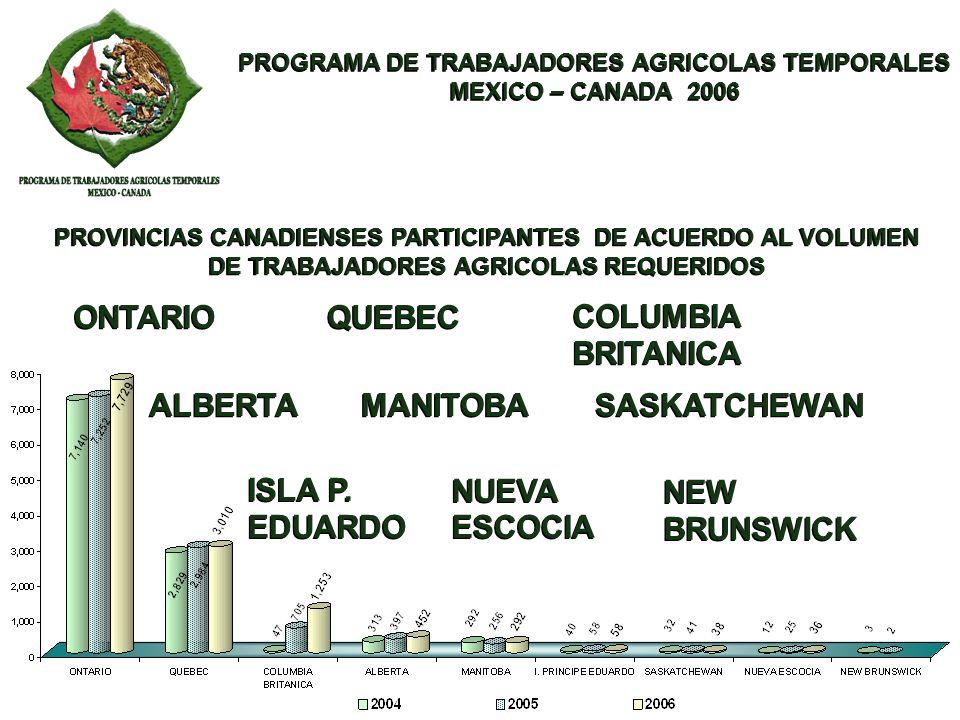 PROGRAMA DE TRABAJADORES AGRICOLAS TEMPORALES MEXICO – CANADA 2006 PROGRAMA DE TRABAJADORES AGRICOLAS TEMPORALES MEXICO – CANADA 2006 En 1989 se incorporan al Programa trabajadoras agrícolas trasladándose a Canadá 37 mujeres, para finales de la temporada 2006 se enviaron un total de 395 trabajadoras, el 10.6% mas que el año anterior.