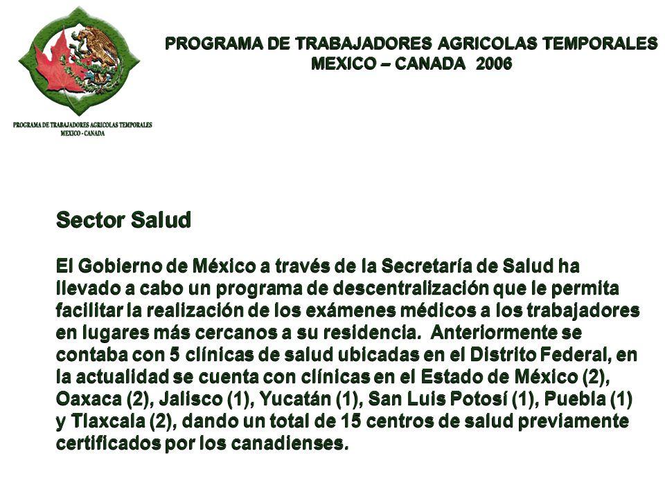 PROGRAMA DE TRABAJADORES AGRICOLAS TEMPORALES MEXICO – CANADA 2006 PROGRAMA DE TRABAJADORES AGRICOLAS TEMPORALES MEXICO – CANADA 2006 Sector Salud El