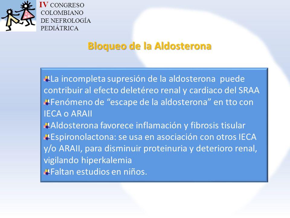 IV CONGRESO COLOMBIANO DE NEFROLOGÍA PEDIÁTRICA Bloqueo de la Aldosterona La incompleta supresión de la aldosterona puede contribuir al efecto deletér