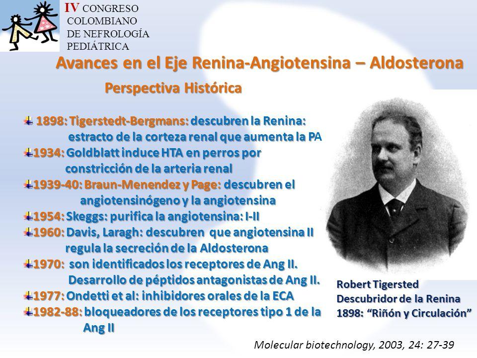 IV CONGRESO COLOMBIANO DE NEFROLOGÍA PEDIÁTRICA Avances en el Eje Renina-Angiotensina – Aldosterona Avances en el Eje Renina-Angiotensina – Aldosteron