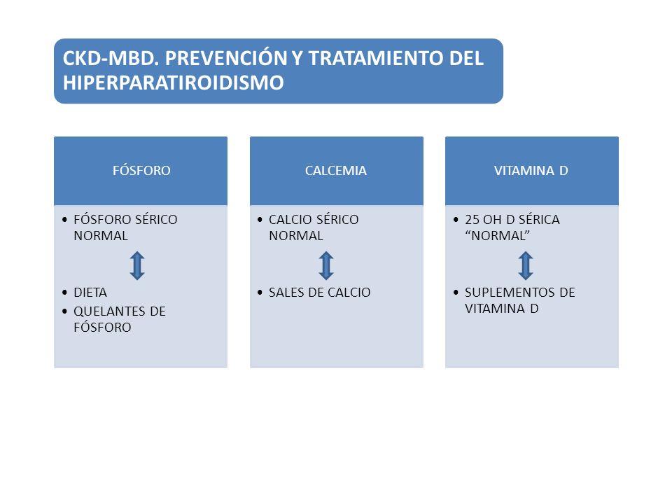 CKD-MBD. PREVENCIÓN Y TRATAMIENTO DEL HIPERPARATIROIDISMO FÓSFORO FÓSFORO SÉRICO NORMAL DIETA QUELANTES DE FÓSFORO CALCEMIA CALCIO SÉRICO NORMAL SALES