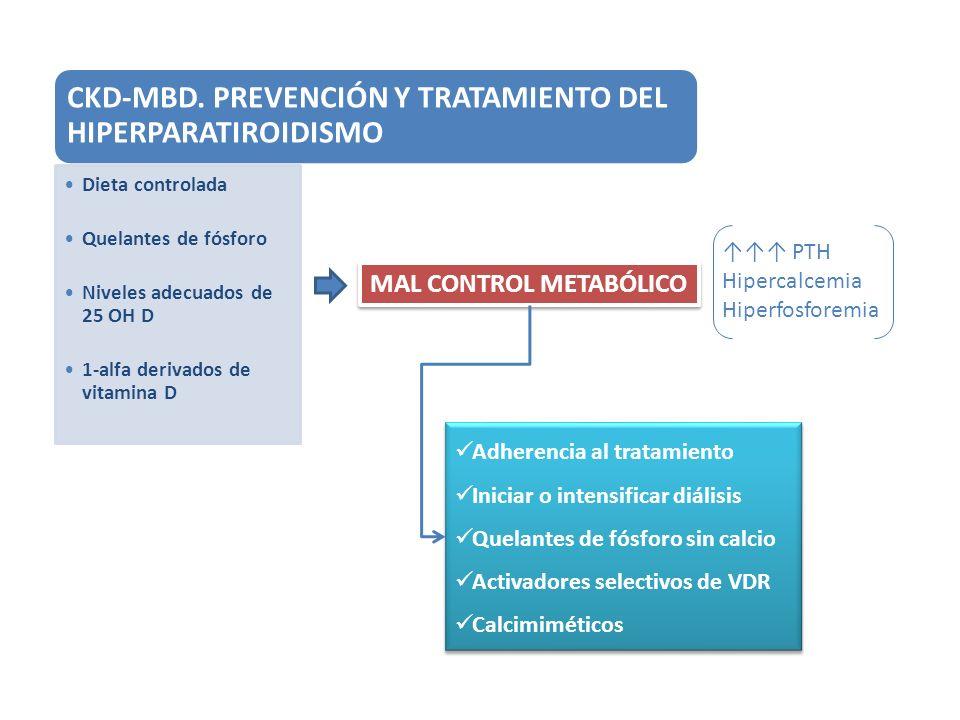 CKD-MBD. PREVENCIÓN Y TRATAMIENTO DEL HIPERPARATIROIDISMO Dieta controlada Quelantes de fósforo Niveles adecuados de 25 OH D 1-alfa derivados de vitam