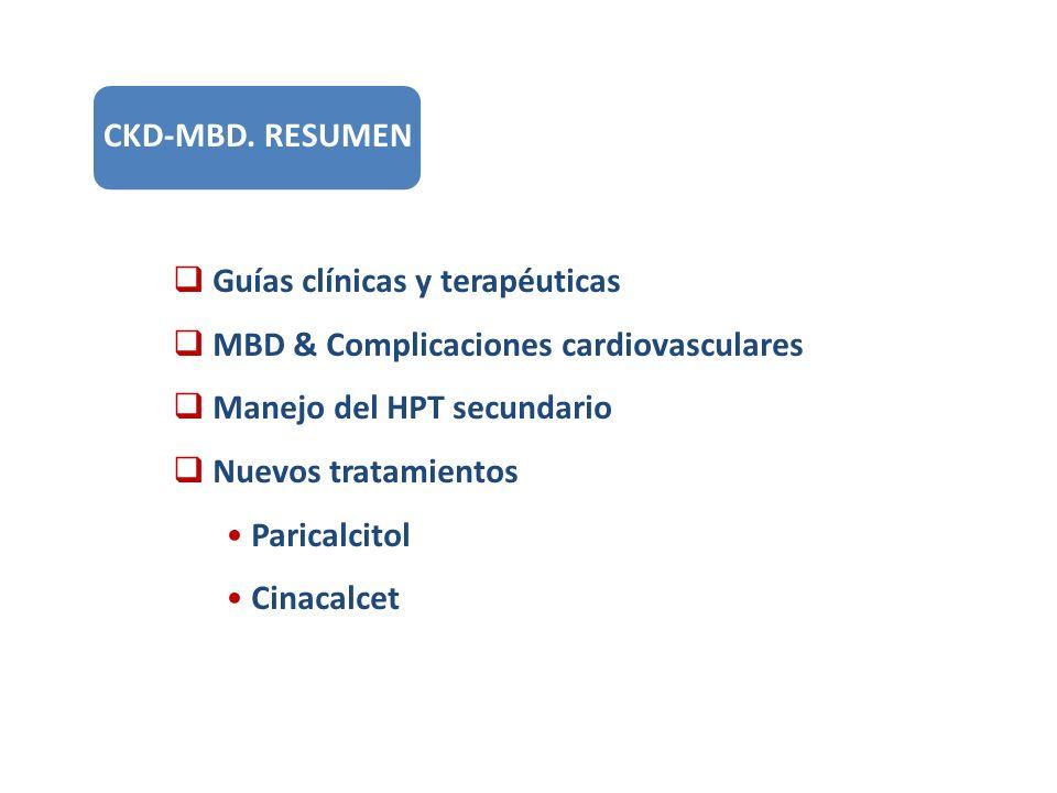 Guías clínicas y terapéuticas MBD & Complicaciones cardiovasculares Manejo del HPT secundario Nuevos tratamientos Paricalcitol Cinacalcet CKD-MBD. RES